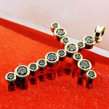 CROSS PENDANT GENUINE REAL 18K YELLOW G/F LADIES GOLD DIAMOND SIMULATED DESIGN
