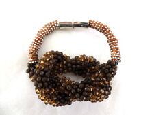 Armband Modeschmuck Magnetverschluß braune Perlen Knoten Fashion Jewelry
