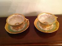 LeMieux 24k gold encrusted 2 sets cup and saucer - Green and Gold w/ Portrait