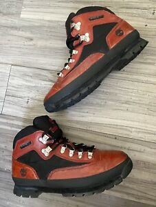 [VTG] TIMBERLAND EURO TREKKER/HIKER BOOT LEATHER BRICK-RED/BLACK MENS SIZE 10.5