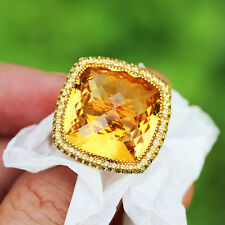 Alex Soldier Honey Citrine Textured Royal Ring in 18kt Yellow Gold 28.05ctw