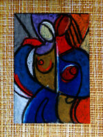 ACEO original pastel painting outsider folk art brut #010357 abstract surreal