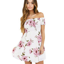 Fashion Women Off Shoulder Floral Beach Casual Evening Party Short Mini Dress M