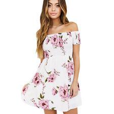 Fashion Women Off Shoulder Floral Beach Casual Evening Party Short Mini Dress M