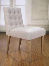 2 x Dining Chairs Linen Oak Scandinavian Bedroom Furniture Hardwood Brand New