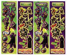 Teenage Mutant Ninja Turtle Stickers! 4 strips! Pizza Michaelangelo Raphael