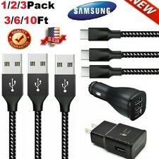For Samsung Galaxy S10 S8 S9 Fast 3.0 Wall Charger 3/6/10 FT Braided USB-C Cable