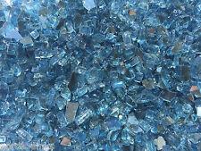 """Reflective Aqua Blue 3/8"""" - 1/2"""" Fireglass Fireplace Glass FirePit Gas Logs"""