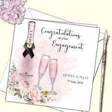 Personalised Wedding Anniversary Engagement Congratulations Card Champagne Roses