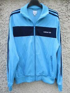 Veste ADIDAS rétro vintage jacket bleu giacca sport felpa jacke M