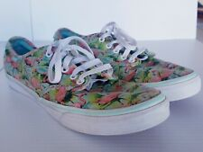 Vans Off The Wall Canvas Pink Flamingo & Turquoise Shoes Women's Size 11