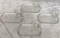 Hazel Atlas Informal Snack Set Teardrop Clear Glass 4 Trays Cups in Box Vintage