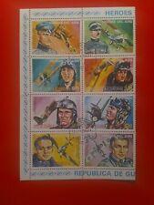 Stamps Republica de Guinea Ecuatorial Half Sheet Of 8 Heroes del Aire 1974