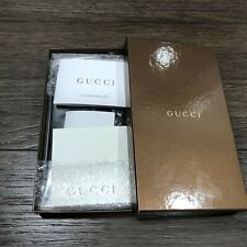 Gucci Long Thin Card Holder Men's Wallet Black Leather Rare Logo Authentic