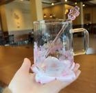 2021 Starbucks Pink Sakura Color-changing Glass Coffee Mug Cup with Rod&Coaster