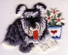 Bearded Collie Dog w/ Flowers Embroidery Patch