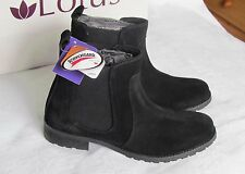 NEW Lotus Ladies Black Suede Leather Chelsea Style Boots Size 5