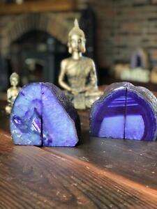 Purple Agate Natural Edge Microcrystalline Quartz Premium Bookends Ornament Pair