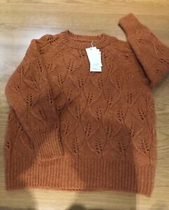 TOAST Alpaca Jumper, Open Lace Stitch, Pumpkin, Size L, BNWT
