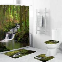Stream Bathroom Rug Set Shower Curtain Thick Bath Mat Non-Slip Toilet Lid Cover
