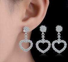 Sterling Silver Cubic Zirconia Love Heart Shaped Stud Earrings Gift Box E11