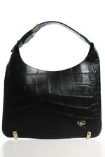 Givenchy Black Embossed Leather Snap Close Shoulder Handbag LL19LL