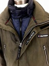 Vtg 90s Tommy Hilfiger Jacket Ski Parka Green Hooded Coat W Liner Mens XL EUC