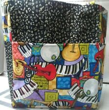 music jazz drum piano instruments notes guitar large purse project bag handmade