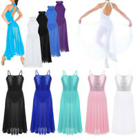 Kid Girl Lyrical Dance Dress Modern Ballet Leotard Maxi Skirt Dancewear Costume