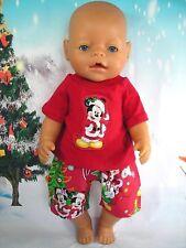 "Dolls clothes for 17"" Baby Born boy doll~DISNEY~MICKEY MOUSE XMAS TOP & SHORTS"