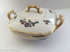 Czechoslovakia Czech China CZE54 Orange Flowers, Gold - COVERED VEGETABLE DISH