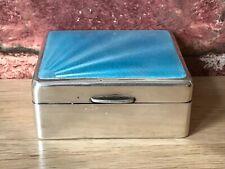 Art Deco 1932 Silver Guilloche Sunburst Enamel Jewellery/Trinket Box by W.Neale