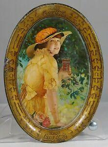Old Original 1916 Coca Cola Tin Litho Soda Fountain Advertising Tip Tray Elaine