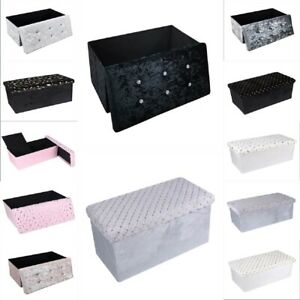Velvet Ottoman Large 2 Seat Foldable Double Bed Storage Box Foot Stool Furniture