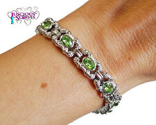 LADIES SUPER STRONG NEW MAGNETIC SILVER ALLOY HEALING BRACELET WITH GREEN STONES