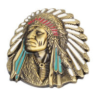 Vintage American Native Indian Chief Feather Western Badge Alloy Belt Buckle Hot