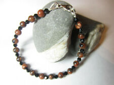 Handmade Goldstone beads 925 Silver Bracelet made with Swarovski Elements
