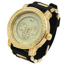 Mens Gold 2line Cz Iced Case Hip Hop Fashion Black Silicone Quartz Wrist  Watch