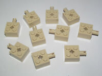 4x Brick Brick Modified 2x2 pin axle axe hole beige//tan 6232 NEW Lego