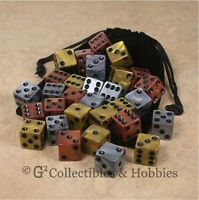 NEW 30 Olympic Gold Silver Bronze Gaming Dice + Bag Set D&D RPG Bunco Game D6