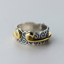 925 Sterling Silver Spinning Ring Adjustable, Leaf Gold statement Double Rings