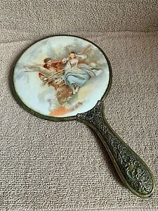 Very Nice Heavy Vintage Porcelain and Brass Hand Mirror for Vanity