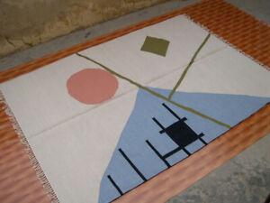 Beige Kilim Rug Hand Woven Afghan Rug Oriental Area Rug Wool Floor Mat 5x7 ft