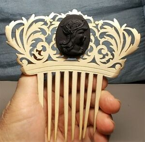 1930 White Victorian Athena Hair Comb Hand Carved Wood, Black Satin Glass Cameo