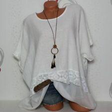 Damen Longshirt Tunika Shirt Bluse Übergröße Leinen 48 50 52 Italy