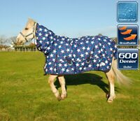 NEW Rhinegold Torrent Full Neck Lightweight Waterproof Horse Turnout Rug Stars