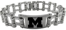 MICHIGAN WOLVERINES * Stainless Steel Bike Chain Bracelet w/Logo * NCAA Jewelry