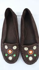 Women's GAP Brown Leather Moccasin/Driving Shoe-Beaded & Bejeweled - SIze 10