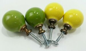 4pc RETRO Vintage Green and Yellow Knobs Drawer Pulls