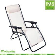 Sedia Sdraio Relax Reclinabile Struttura Acciaio Textilene Bianco Enrico Coveri